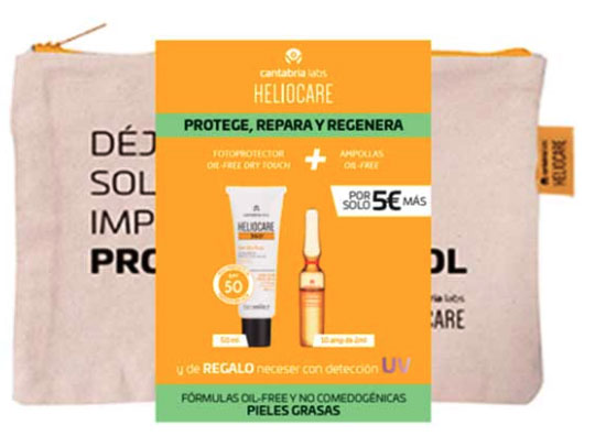 Heliocare Pack 360 Gel Oil-free Spf50 50ml + Radiance C Oil-free 10 Amp. + Neceser
